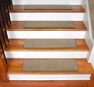 "Dean Ultra Premium Stair Gripper Non-Slip Tape Free Pet Friendly DIY Satin Soft Nylon Carpet Stair Treads/Rugs 30"" x 9"" (15) - Color: Saddle Tan"