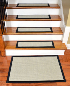 "Dean Non-Slip Tape Free Pet Friendly Stair Gripper Natural Fiber Sisal Carpet Stair Treads - Island Sand/Black 29""W (15) Plus a Matching 2' x 3' Landing Mat"