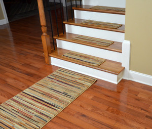 "Dean Premium Carpet Stair Treads - Striation Stripes Beige 26"" x 9"" (Set of 13) Plus a 5' Runner"