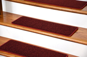 "Dean Serged DIY Carpet Stair Treads 27"" x 9"" - Ruby Red PLUSH with Double-Sided Tape Included"