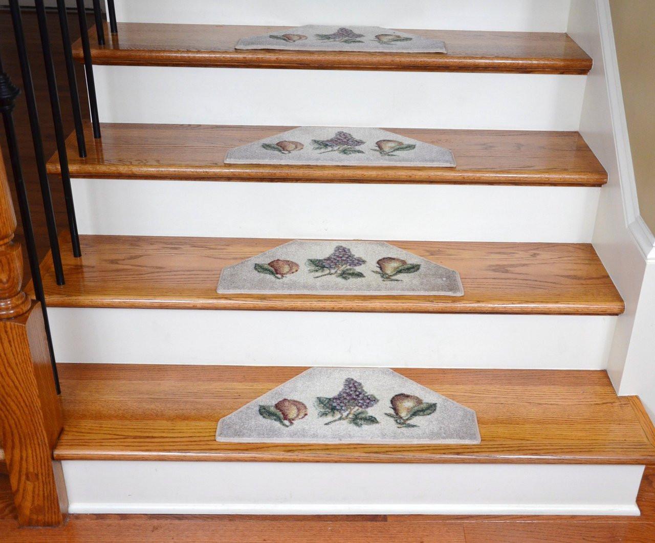 Washable Non Skid Carpet Stair Treads Beige Fruit 13