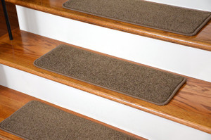 """Dean Serged DIY Carpet Stair Treads (13) - Rich Earth Plush 27"""" X 9"""" with Double-Sided Tape Included"""