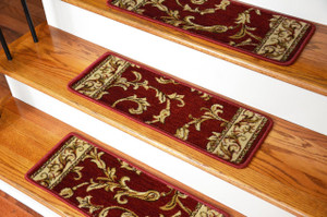 Dean Premium Carpet Stair Treads - Red Scrollworks - 13 Pack