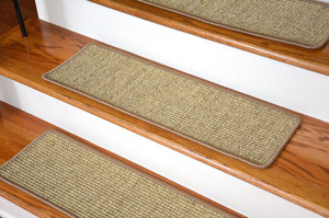 Dean Attachable Non-Skid Sisal Carpet Stair Treads - Desert - Set of 13