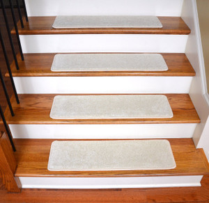 "Dean Ultra Premium Stair Gripper Non-Slip Tape Free Pet Friendly DIY Satin Soft Nylon Carpet Stair Treads/Rugs 30"" x 9"" (15) - Color: Feathered Beige"