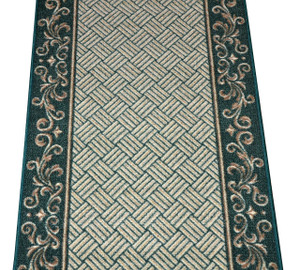 Dean Hunter Green Scroll Border Washable Non-Skid Carpet Rug Runner - Purchase in Custom Lengths by the Linear Foot