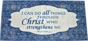 "Dean Washable Non-Skid ""Philippians 4:13"" Christian Faith Bible Verse Prayer Carpet Runner Mat/Rug 20"" x 44"" Color: Blue"