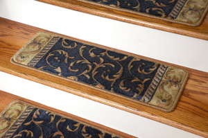 Dean Premium Carpet Stair Treads - Navy Scrollwork
