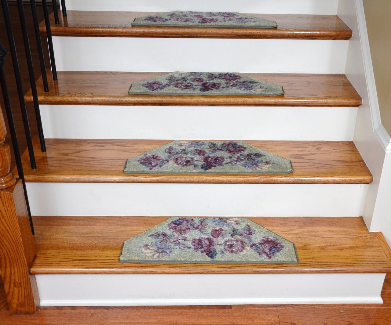 Washable Non Skid Carpet Stair Treads Green Flower 13