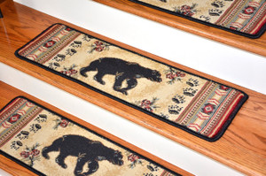 """Dean Premium Carpet Stair Tread Rugs - Black and Red Bear Cabin Lodge 31"""" W (Set of 13)"""