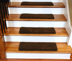 "Dean Premium Serged DIY Carpet Stair Treads 27"" x 9"" Timberline 70 Oz PLUSH (13) with Double-Sided Tape Included"
