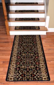 """Dean Premium Carpet Stair Treads - Classic Keshan Ebony 31""""W (13) Plus a 5' Runner"""