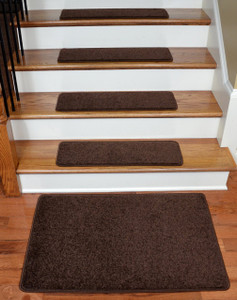 "Dean Serged DIY 27"" x 9"" Imperial Carpet Stair Treads (13) with Landing Mat - Color: Walnut"