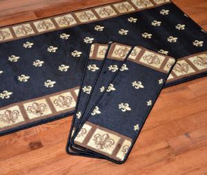 """Dean Premium Carpet Stair Treads - Fleur-De-Lys Black 31"""" x 9"""" (Set of 13) Plus a 5' Runner"""