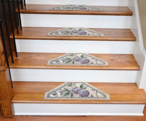 Washable Non Skid Carpet Stair Treads Ivory Grey Gold