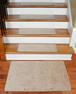 "Dean Serged DIY 27"" x 9"" Imperial Carpet Stair Treads (13) with Landing Mat - Color: Tan/Gold"