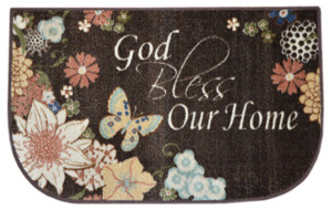 "Dean Washable Non-Skid ""God Bless Our Home"" Brown & Beige Christian Faith Bible Verse Prayer Carpet Runner Mat/Rug 20"" x 32"""