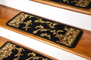 Dean Premium Carpet Stair Treads - Black Scrollworks 13 Pack