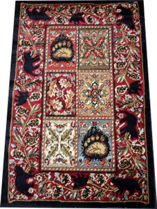 "Dean American Master's Lodge Cabin Bear Panel Area Rug Size: 5'3"" x 7'3"""