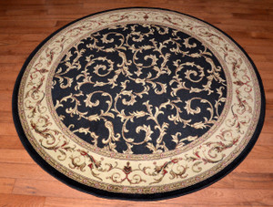 "Dean Black Scrollworks 5' 3"" Round Area Accent Landing Rug"