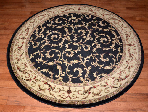 Dean Black Scrollworks 5 3 Quot Round Area Accent Landing Rug