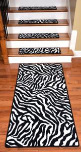 "Premium Carpet Stair Treads - Zebra 30"" x 9"" PLUS a Matching 5' Runner"