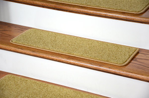 "Dean Serged DIY Carpet Stair Treads (13) - Camel Plush 27"" X 9"" with Double-Sided Tape Included"
