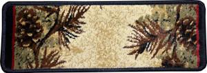 "Dean Premium Carpet Stair Treads - Mt. Le Conte Pine Cone Lodge Cabin Runner Rugs 31"" x 9"" (Set of 15)"