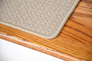 "Dean Premium Nylon Carpet Stair Treads - Pindot Beige 27"" x 9"" (Set of 13) plus a 2' x 3' Mat"