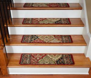 "Dean Premium Carpet Stair Treads - Panel Kerman Claret 31""W Set of 13"