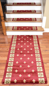 "Dean Premium Carpet Stair Treads - Red Fleur-De-Lys 31"" x 9"" (Set of 13) Plus a 5' Runner"