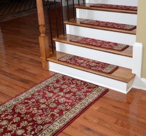 "Dean Premium Carpet Stair Treads - Elegant Keshan Claret 31"" x 9"" (Set of 13 Plus a Matching 5' Runner)"