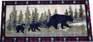 """Washable Non-Slip """"Following Mama"""" Cabin Bear Kitchen Door Entrance Mat/Rug 20"""" x 44"""""""