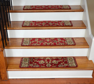 "Dean Premium Carpet Stair Treads - Elegant Keshan Claret 31"" x 9"" (Set of 13)"