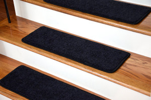 "Dean Serged DIY Carpet Stair Treads 27"" x 9"" - Onyx Black PLUSH with Double-Sided Tape Included"