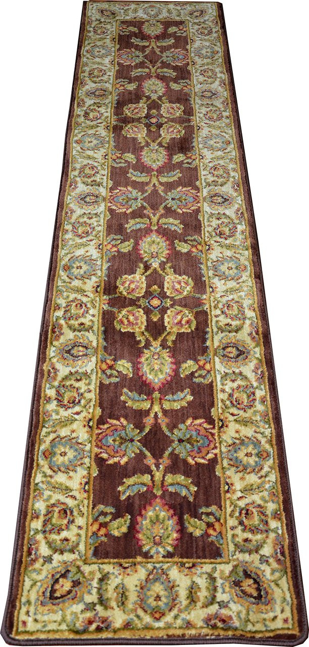 Renaissance Brown Soft Nylon Hallway Carpet Runner Rug 2
