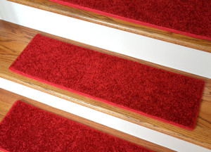 "Dean Ultra Premium Stair Gripper Non-Slip Tape Free Pet Friendly DIY Carpet Stair Treads/Rugs 30"" x 9"" (15) - Color: Fire Engine Red"