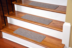 Dean Affordable American Made High Quality Non-Skid DIY Peel & Stick Carpet Stair Treads - Color: Beige Ripple - Set of 13