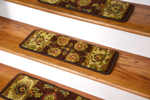 Dean Premium Super Soft Nylon Carpet Stair Treads/Runner Rugs - Renaissance Brown - Set of 15