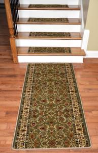 """Dean Premium Carpet Stair Treads - Classic Keshan Sage Green 31""""W (13) Plus a 5' Runner"""