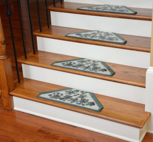 Washable Non-Skid Carpet Stair Treads - Green Vine (13)