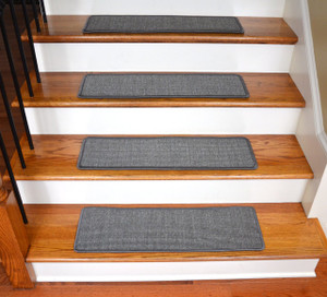 "Dean Non-Slip Tape Free Pet Friendly Stair Gripper Natural Fiber Sisal Carpet Stair Treads - Island Gray 29""W (15)"