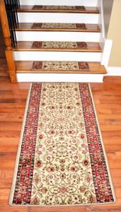"""Dean Premium Carpet Stair Treads - Classic Keshan Antique 31""""W (13) Plus a 5' Runner"""