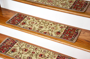 "Dean Premium Carpet Stair Treads - Classic Keshan Antique 31"" W (Set of 13)"