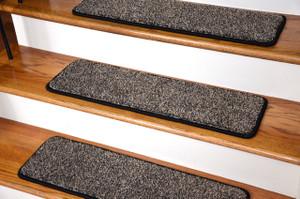 "Dean Premium Stair Gripper Tape Free Non-Slip Pet Friendly DIY Carpet Stair Treads 30""x9"" (15) - Black & Beige Tweed"
