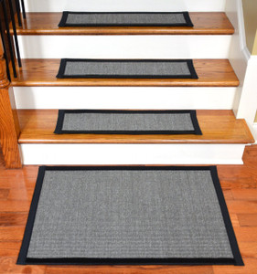 "Dean Non-Slip Tape Free Pet Friendly Stair Gripper Natural Fiber Sisal Carpet Stair Treads - Island Gray/Black 29""W (15) Plus a Matching 2' x 3' Landing Mat"