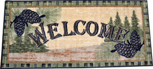 """Washable Non-Slip Pine Cone """"Welcome"""" Cabin Kitchen Door Entrance Mat/Rug 20"""" x 44"""""""