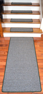 Washable Non-Skid Carpet Stair Treads - Chameleon (15) PLUS a Matching 5' Runner