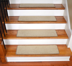 "Dean Ultra Premium Stair Gripper Non-Slip Tape Free Pet Friendly DIY Satin Soft Nylon Carpet Stair Treads/Rugs 30"" x 9"" (15) - Color: Twilight Beige"