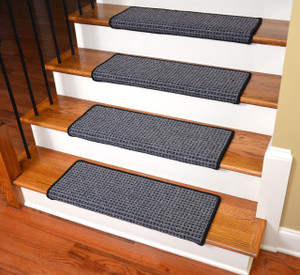"Dean Modern DIY Peel and Stick Bullnose Wraparound Non-Skid Carpet Stair Treads - Silvered Sky 30""W (15)"